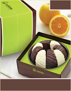 Gourmet Shareable Chocolate Covered Orange - Black & White