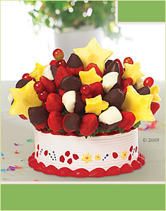 A Birthday Bouquet with Dipped Strawberries & Bananas